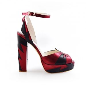 Zia Red Black Luxury Block Heel 1